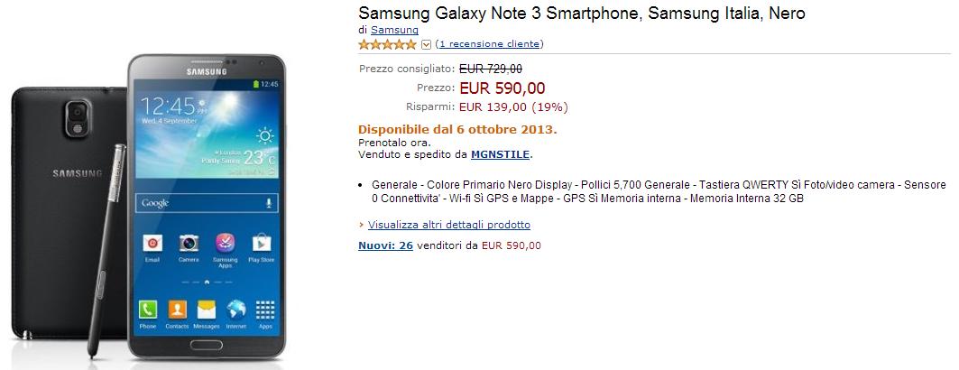 galaxy note 3 offerta