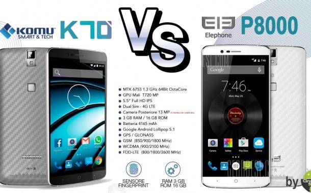 Elephone P8000 vs Komu K70: Trova le differenze!