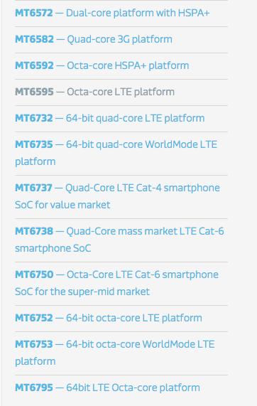 Principali prodotti Mediatek per Smartphone