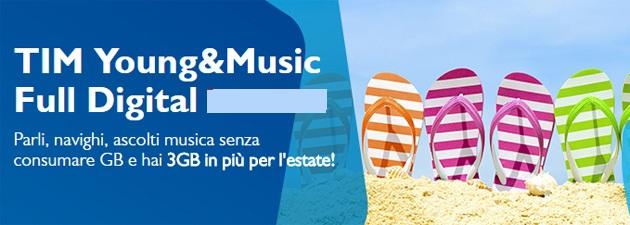 TIM Young&Music Full Digital offre 1 mese di promo GRATIS e GB Extra !
